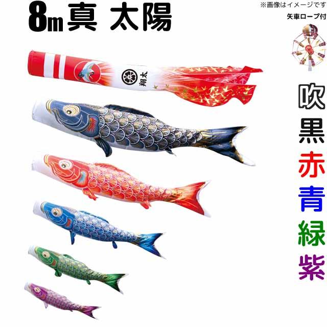 こいのぼり 真・太陽 鯉のぼり 庭園用 8m 鯉5色 8点セット 徳永鯉 真・太陽鯉 徳永