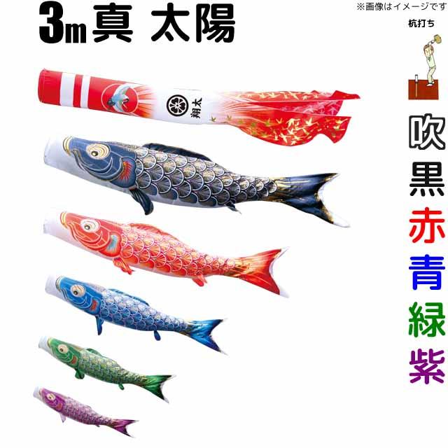 こいのぼり 真・太陽 鯉のぼり 3m 鯉5色8点 庭園用 ガーデンセット 徳永鯉 真・太陽鯉 徳永