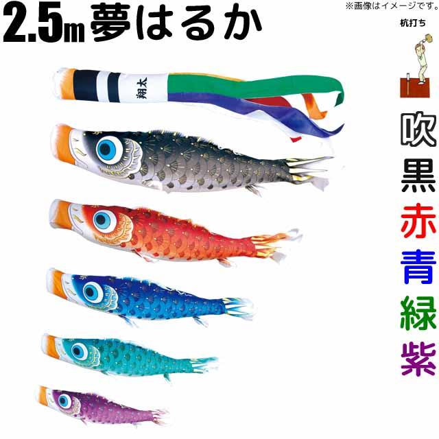 こいのぼり 夢はるか 鯉のぼり 2.5m 鯉5色8点 庭園用 ガーデンセット 徳永鯉 夢はるか鯉 徳永