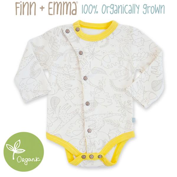 オーガニックのやさしいウェア ボディスーツ 長袖 Finn Emma 出産祝い ロンパース デザイン Jungle + 100%オーガニックこだわりの高品質長袖ボディスーツ エマ フィン 0921SSFI セール 登場から人気沸騰 開店祝い