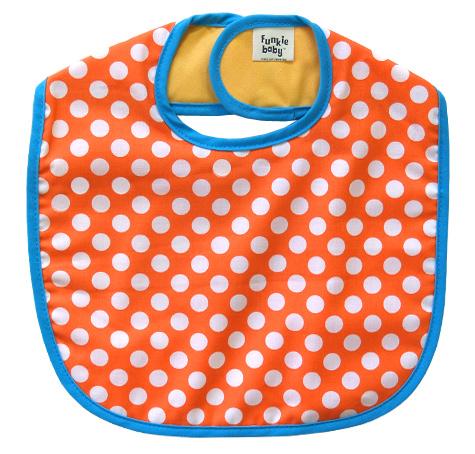 現品 米セレブ愛用スタイ ビブ 簡易ラッピング無料 出産祝い 市販 よだれかけ アメリカ製 Funkie Baby ファンキーベビー 3ヶ月~3歳まで長~く対応 デザインスタイ オレンジドット Made コットン in デザイン U.S.A.