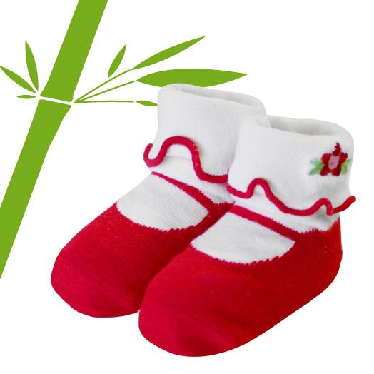出産祝い 簡易ラッピング無料 公式サイト ベビー ソックス 赤ちゃん 靴下 Jazzy Toes ギフト in 優しい肌触りの竹繊維を使用 ジャージートー メリージェーン レッド フォーマルドレスやロンパースに合わせて 特売