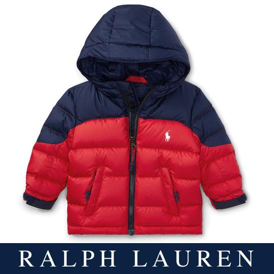 ラルフローレン【Ralph Lauren】フード付2トーンダウンジャケット(レッド/ネイビー)【あす楽対応】(ベビー, 出産祝い, Ralph Lauren, 赤ちゃん, 女の子, 男の子, おくるみ, 防寒)