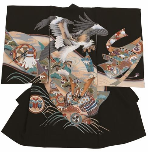 【DM61】鷹とかぶと  【レンタル1週間】男児お宮参り衣装  往復送料無料!フード3点セット無料!