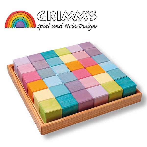 グリムス社 にじのキューブ パステル 小 36pcs GRIMM'S社 レインボーつみき 色彩のもたらす喜び 安全塗料 ドイツ製 43111