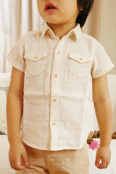 【ネコポス1点まで】オーガニックコットン 2重ガーゼ半袖Tシャツ ベビー服【子供服(男の子用)80cm/90cm】着やすくてかっこいい夏服 プリスティン PRISTINE【あす楽対応】