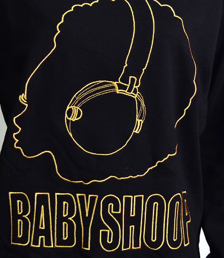 baby Shoop ベイビーシュープ DJ Afro embroidery sweat shirt long sleeves TOPS