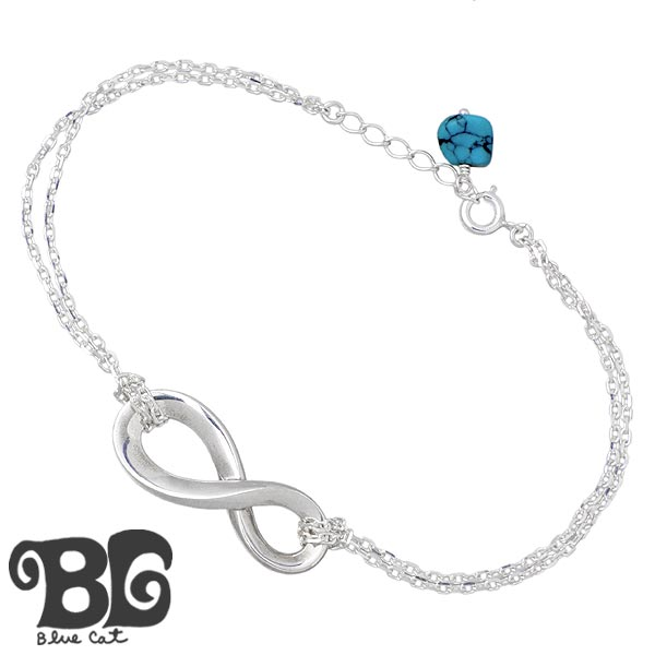 ブルーキャット Blue Cat ターコイズ インフィニティ シルバー ブレスレット アクセサリー メンズ SBV771-1408