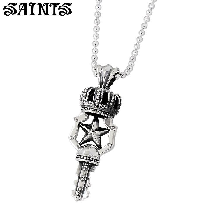 SAINTS【セインツ】 クラウン キー 鍵 シルバー ネックレス アクセサリー シルバー925 スターリングシルバー SSP-05