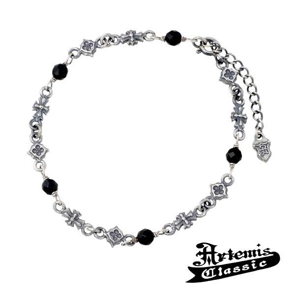 Artemis Classic【アルテミスクラシック】 トレサリー クロス シルバー ブレスレット メンズ オニキス 十字架 シルバーアクセサリー シルバー925 ACB0045