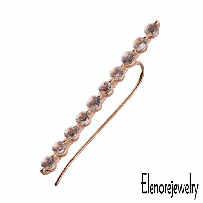 Elenore Jewelry【エレノアジュエリー】 10K ゴールド ピアス アクセサリー ホライゾン イヤー クライマー 片耳用 ホワイトトパーズ ELE0006