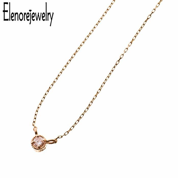 エレノアジュエリー Elenore Jewelry 10K ゴールド ネックレス アクセサリー 一粒 ホワイトトパーズ ELP0003