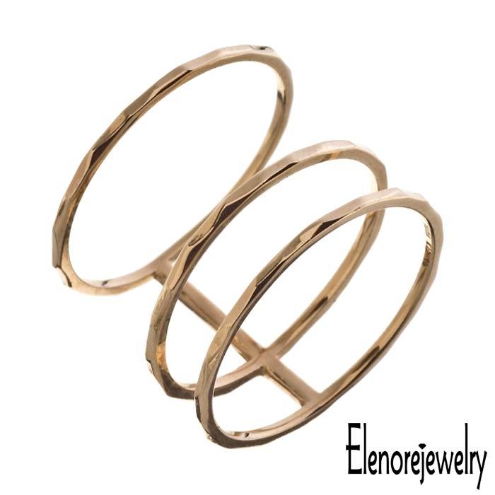 エレノアジュエリー Elenore Jewelry 10K ゴールド リング 指輪 アクセサリー トリプル 9号~13号 ELR0006