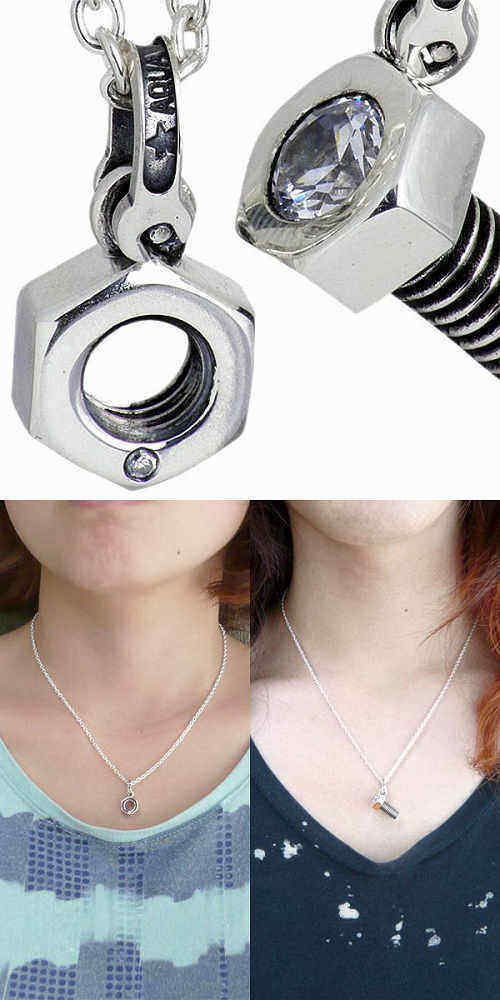 AQUA SILVER bolts & nuts silver pair necklace with chain Silver 925 Silver jewelry with cubic silver axe