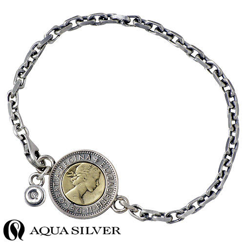 AQUA SILVER【アクアシルバー】 6ペンスコイン シルバー ブレスレット アクセサリー 真鍮 シルバー925 スターリングシルバー ASB025BRF