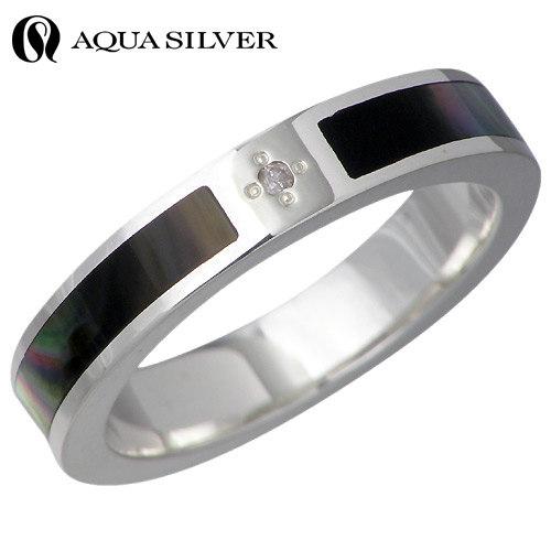 AQUA SILVER【アクアシルバー】 ダイヤモンド シルバー リング ブラックシェル 指輪 7~21号 シルバーアクセサリー シルバー925 ASR105-DM-BK