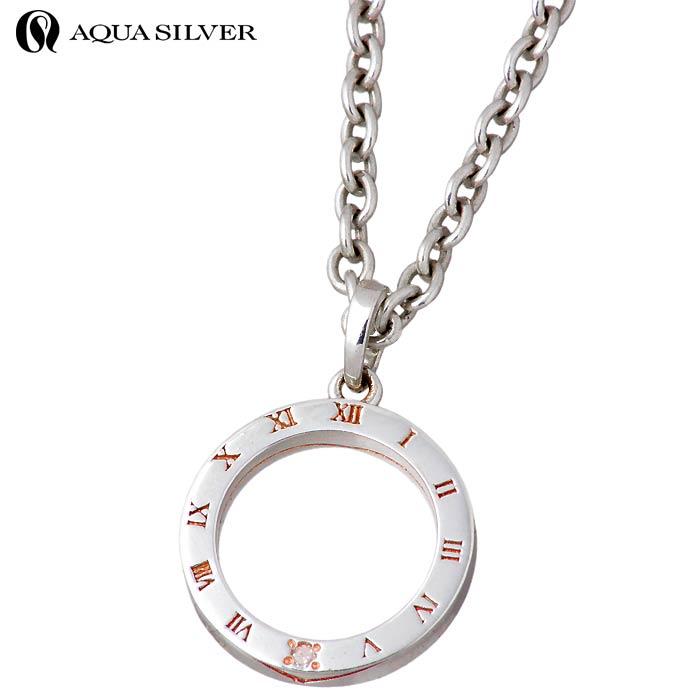 アクアシルバー AQUA SILVER ダイヤモンド シルバー ネックレス アクセサリー レディース ローマ数字 ASP333PGC-DM-CL