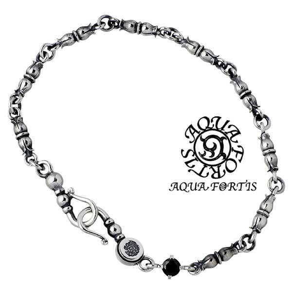 AQUA FORTIS【アクアフォルティス】 シルバー ブレスレット アクセサリー ブラックキュービック シルバー925 スターリングシルバー FB-005F-BZ