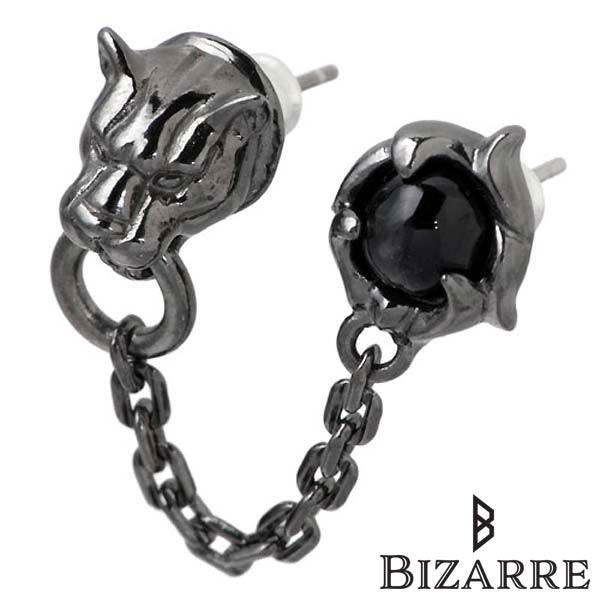 Bizarre【ビザール】 フレグランスド パンサー ダブル シルバー ピアス アクセサリー ブラック 1個売り 片耳用 シルバー925 スターリングシルバー SPJ068BK