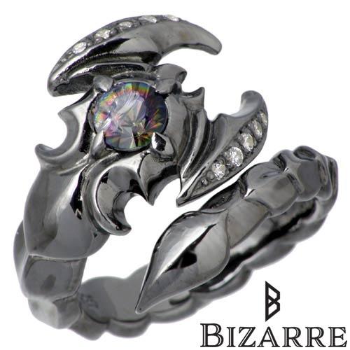 Bizarre【ビザール】 アポリオン シルバー リング 10~22号 指輪 サソリ ストーン ブラック シルバーアクセサリー シルバー925 SRJ087BK
