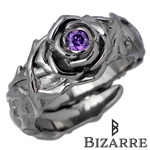 Bizarre【ビザール】 シークレット ローズ シルバー リング 指輪 ブラック 薔薇 バラ シルバーアクセサリー シルバー925 SRJ088BK