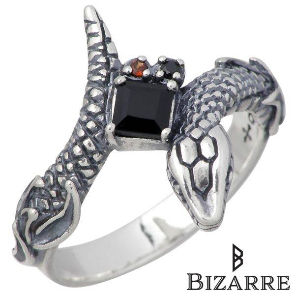 Bizarre【ビザール】 Ouroboros Collection Eternal メンズ シルバー リング ブラックスピネル ヘビ 指輪 アクセサリー 12~18号 シルバー925 スターリングシルバー SRJ116