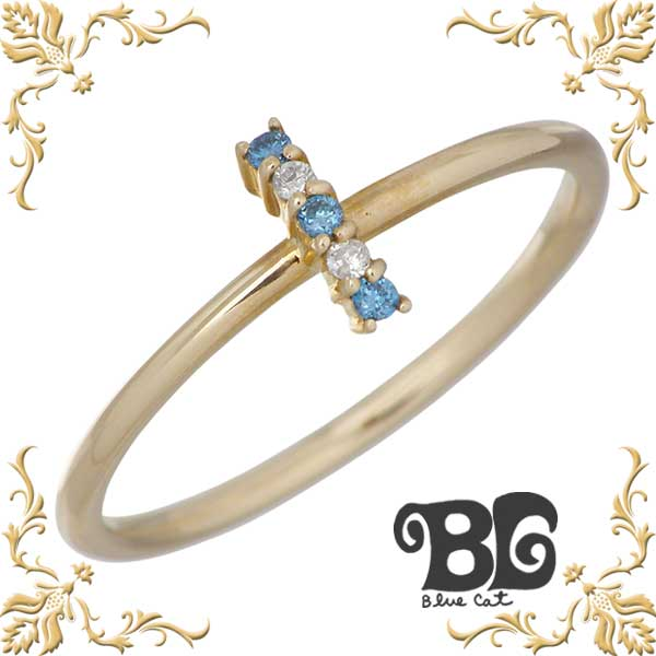 Blue Cat【ブルーキャット】 K10YG ダイヤモンド リング レディース K10 イエローゴールド 指輪 アクセサリー 7~15号 KRV595-0972