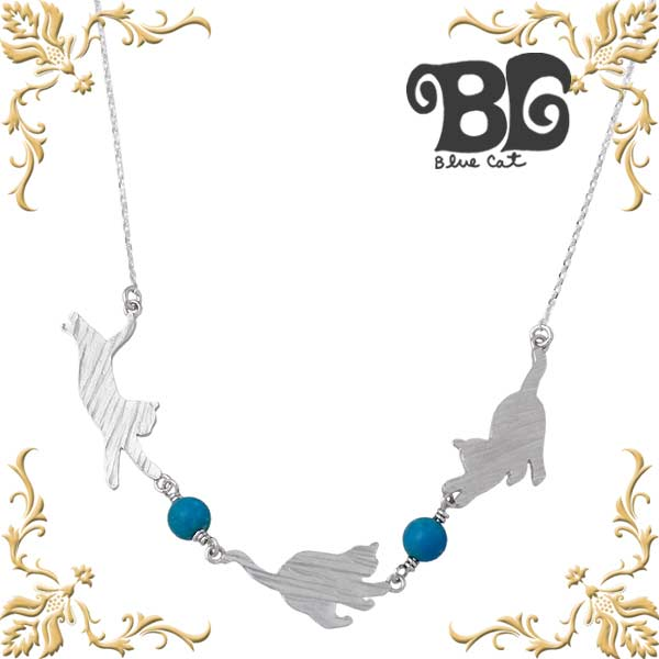 Blue Cat【ブルーキャット】 シルバー 三匹の猫 ターコイズ ネックレス アクセサリー シルバー925 スターリングシルバー SPV782-1332