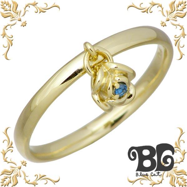 Blue Cat【ブルーキャット】 シルバー バラ リング ブルーダイヤモンド 薔薇 ローズ 指輪 アクセサリー 9~13号 イエローゴールド シルバー925 スターリングシルバー SRV749-1276