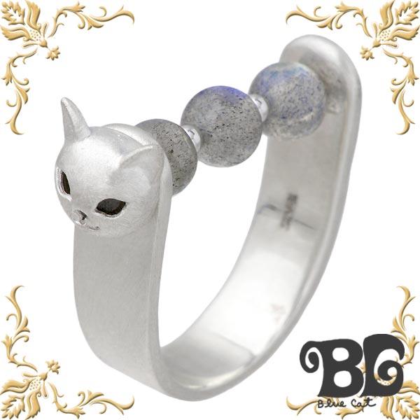 Blue Cat【ブルーキャット】 シルバー 猫 リング ラブラドライト ネコ 指輪 アクセサリー 8~12号 シルバー925 スターリングシルバー SRV765-1293