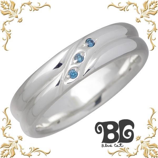 ブルーキャット Blue Cat シルバー ブルーダイヤモンド リング メンズ 指輪 アクセサリー 15~21号 シルバー925 スターリングシルバー SWG102-0149