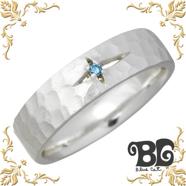 Blue Cat【ブルーキャット】 クロス デザイン ブルーダイヤモンド シルバー リング レディース ダイアモンド ツヤ消し 指輪 アクセサリー 9~15号 シルバー925 スターリングシルバー SWG681-1097