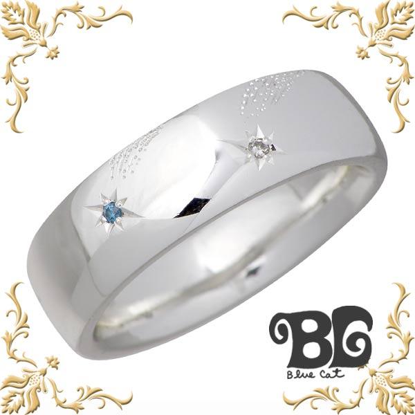 Blue Cat【ブルーキャット】 スター デザイン ダイヤモンド シルバー リング メンズ ダイアモンド 指輪 15~21号 シルバーアクセサリー シルバー925 SWG682-1098