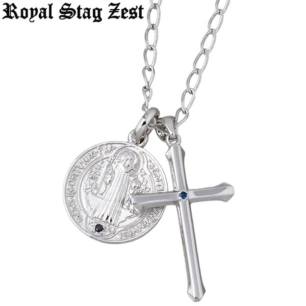 Royal Stag Zest【ロイヤルスタッグゼスト】クロス シルバー ネックレス ブルーダイヤモンド キュービック メダイ メンズ SN25-028