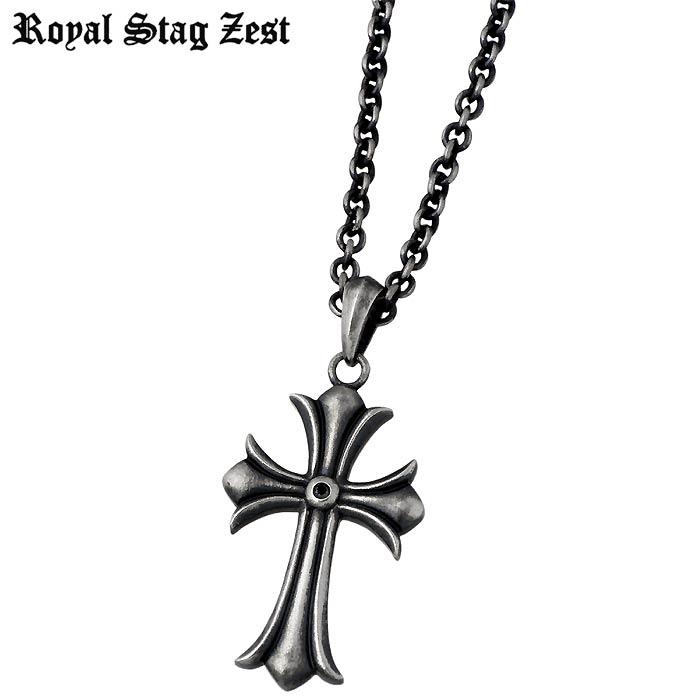 Royal Stag Zest【ロイヤルスタッグゼスト】 シルバー ネックレス アクセサリー ブラックダイヤモンド クロス メンズ 十字架 SN25-031