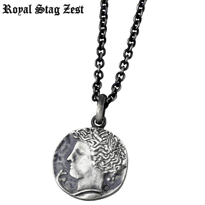 Royal Stag Zest【ロイヤルスタッグゼスト】 シルバー ネックレス アクセサリー ブラックダイヤモンド コイン メンズ SN25-034