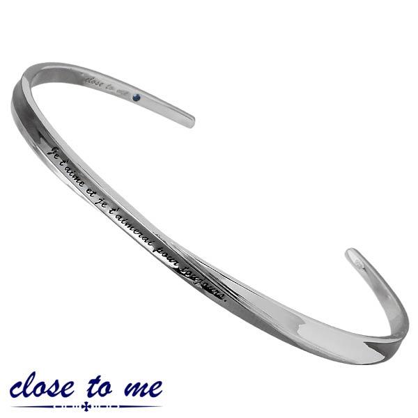 close to me【クロストゥーミー】 メッセージ シルバー バングル アクセサリー ブルーダイヤモンド メンズ 刻印可能 SVA13-015