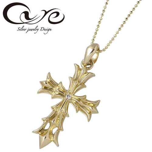 cure【キュア】 シャイン ストーン クロス K10 ペンダントトップ イエロー ピンク ダイヤモンド 十字架 CU-KPE-042