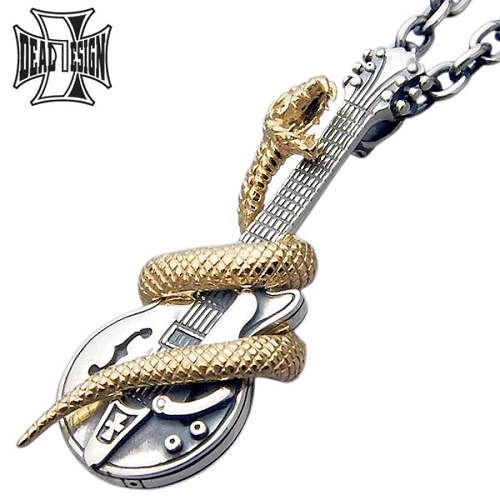 DEAL DESIGN【ディールデザイン】 ヘルズギター シルバー ネックレス アクセサリー 蛇 K18 シルバー925 スターリングシルバー 391102K18-CL100