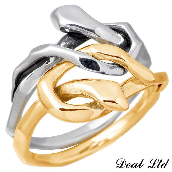 DEAL LTD【ディール エルティーディー】KNOT SNAKE RING DOUBLE K10 ゴールドコンビ リング 指輪 5~23号 メンズ レディース スネーク 310230K10