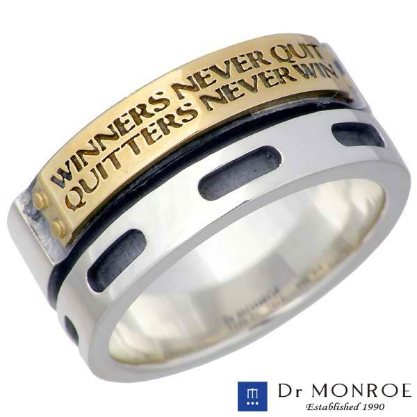 Dr MONROE【ドクターモンロー】 シルバー リング K18YG 18金コンビ メンズ メッセージ 指輪 アクセサリー 13~23号 シルバー925 スターリングシルバー FC-98KTE-SV