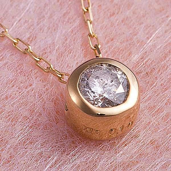 K18YG 0.1ct ダイヤモンド フクリン ゴールド ネックレス ペンダント