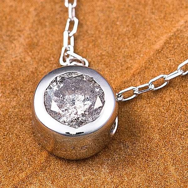K18WG 0.15ct ダイヤモンド フクリン ゴールド ネックレス ペンダント