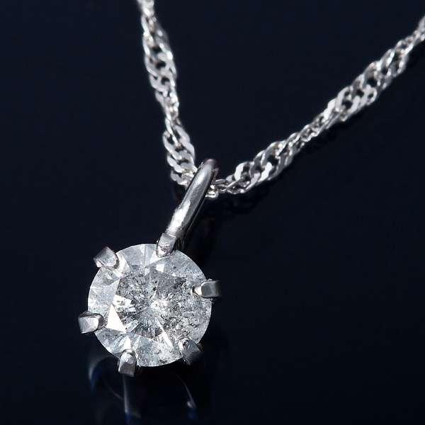 K18WG 0.1ct ダイヤモンド ペンダント ネックレス スクリューチェーン(鑑別書付き)