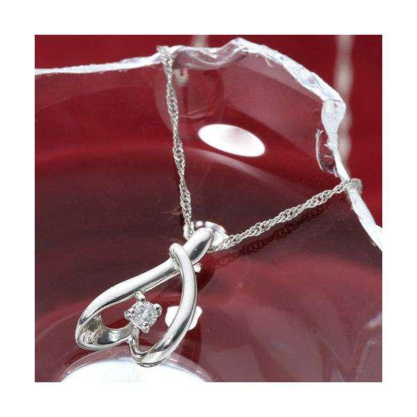 Pt900 プラチナ ダイヤモンド 0.03ct ペンダント ネックレス