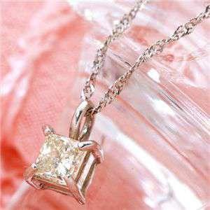 純プラチナ プリンセスカット ダイヤモンド ペンダント ネックレス 計0.15アップCT