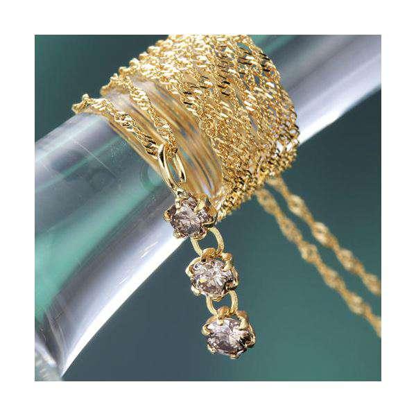 K18YG3ストーン ダイヤモンド ゴールド ペンダント ネックレス