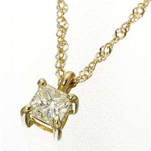 0.15ct ダイヤモンドプリンセスカット ペンダント ネックレス イエローゴールド(ゴールド)
