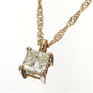 0.15ct ダイヤモンドプリンセスカット ペンダント ネックレス ピンクゴールド