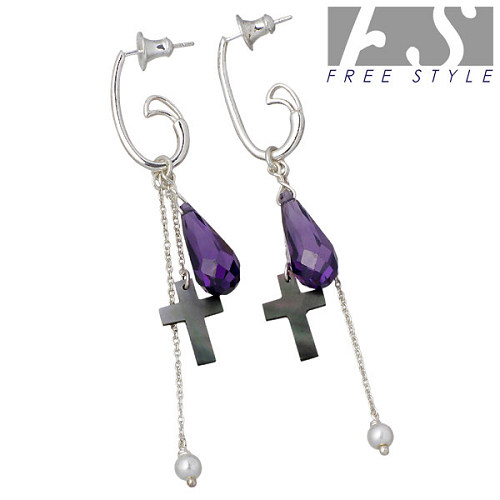FREE STYLE【フリースタイル】 アメジスト チャーム シルバー ピアス アクセサリー スタッドタイプ クロス 2個売り 両耳用 シルバー925 スターリングシルバー FSH008FSCP003AT